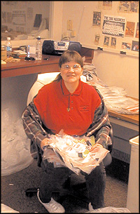Bank of America employee sorting mail