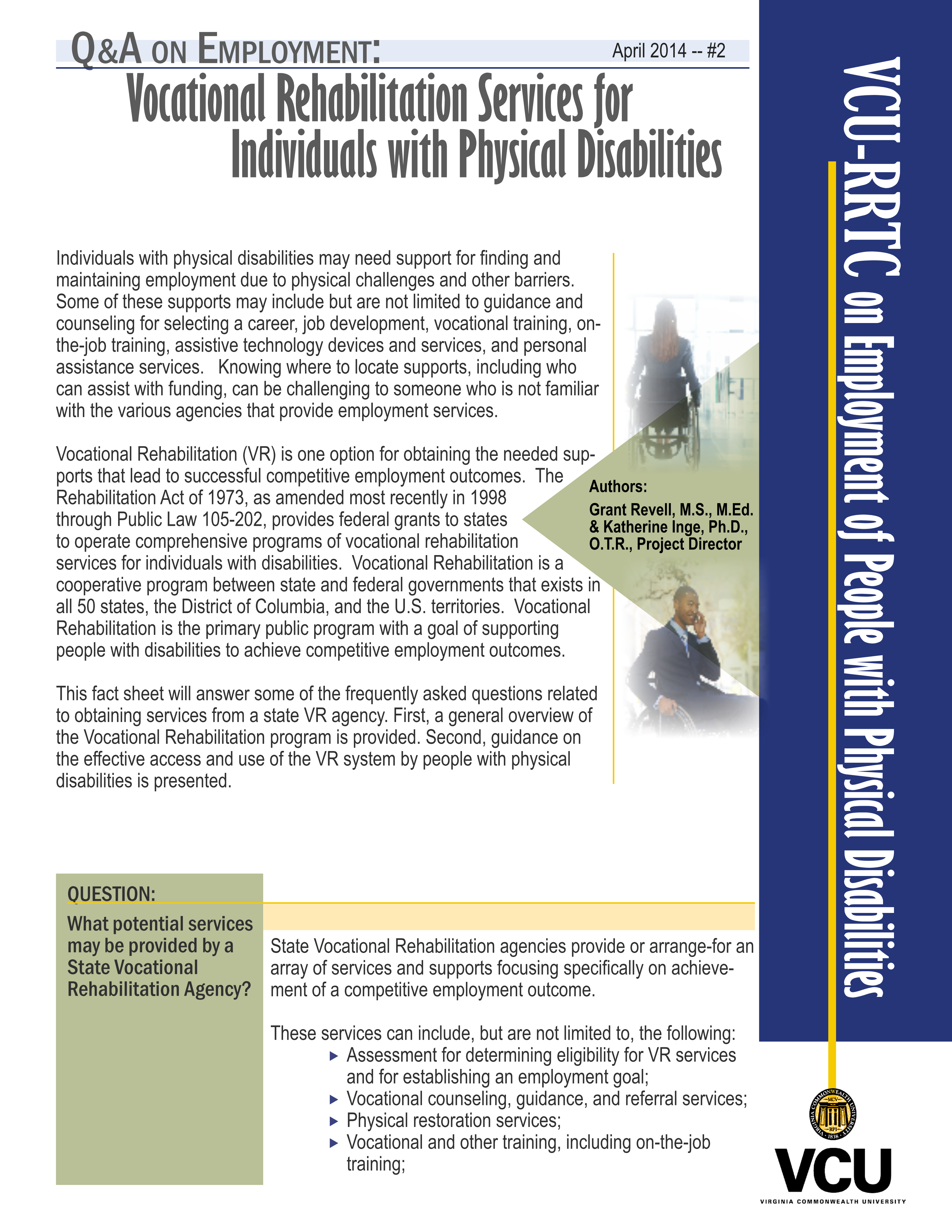 Factsheet Vcu Rrtc On Employment With Physical Disabilities