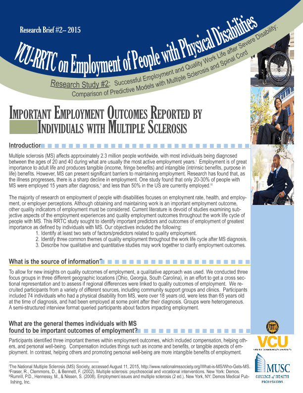 Research Brief - VCU RRTC on Employment with Physical
