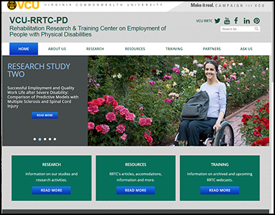 VCU RRTC on Employment of People with Physical Disabilities website screenshot