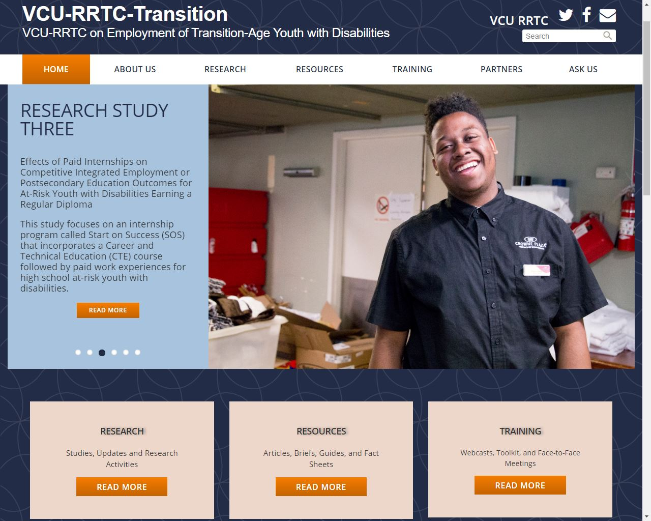 VCU RRTC on on Employment of Transition-Age Youth with Disabilities website screenshot