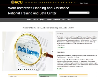 Work Incentive Planning & Assistance National Training Center (WIPA-NTC) website screenshot